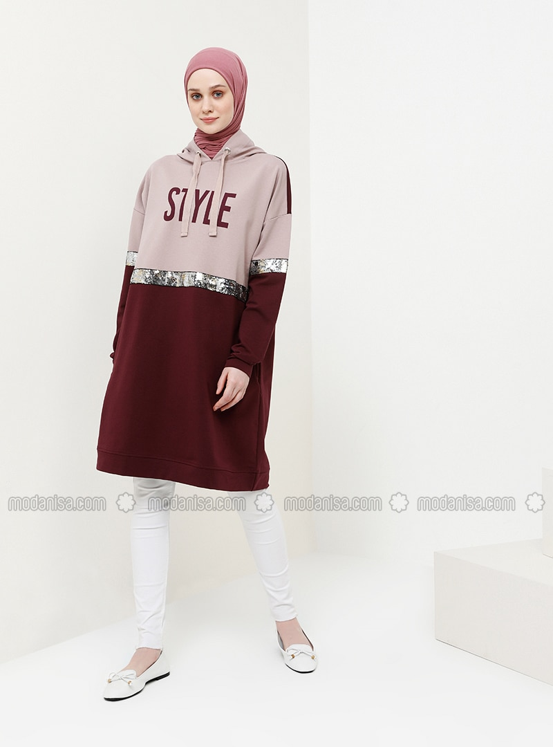 Maroon - Lilac - Cotton - Tunic