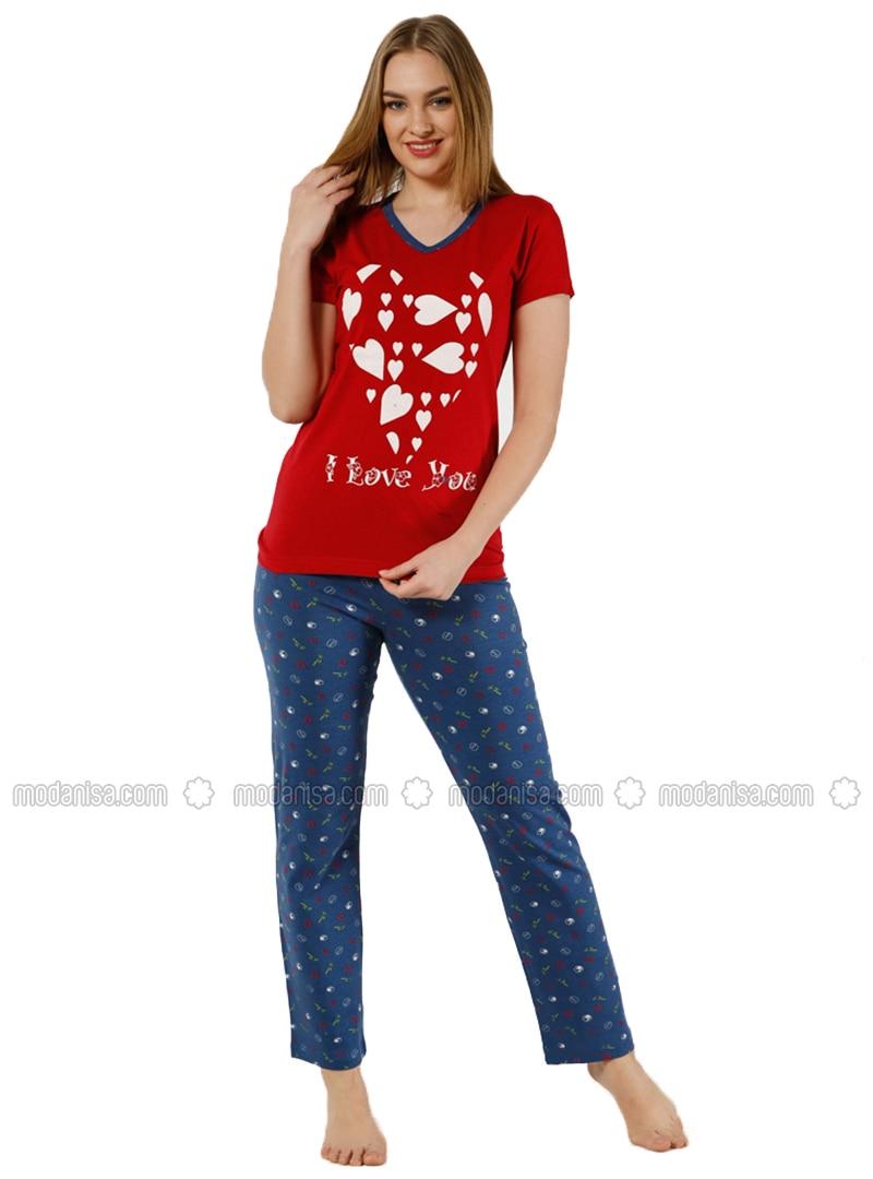 Red - Navy Blue - Crew neck - Polka Dot - Pyjama