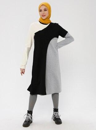 Black - Gray - Geometric - Multi - Crew neck - Unlined - Cotton - Dress