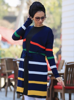Navy Blue - Stripe -  - Cardigan