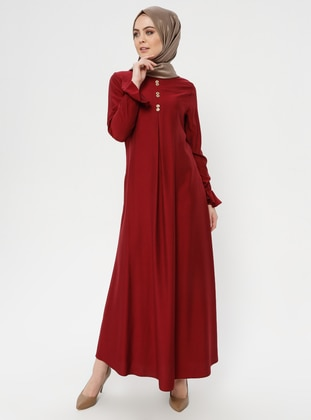 Maroon - Crew neck - Unlined - Cotton - Dress