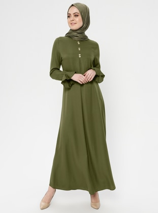 Khaki - Crew neck - Unlined - Cotton - Dress