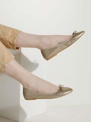 Gold - Flat - Flat Shoes