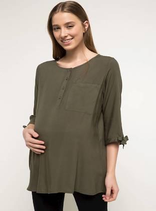 Khaki - Maternity Blouses Shirts - DeFacto