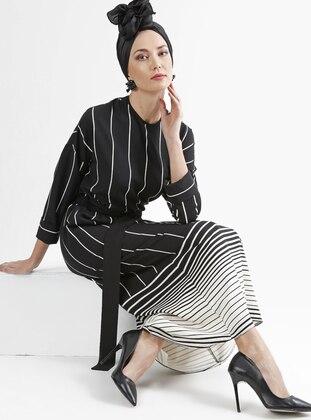 Black - White - Stripe - Crew neck - Unlined - Dress