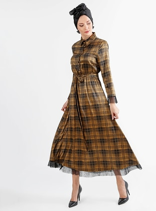 Mustard - Plaid - Point Collar - Fully Lined - Dress
