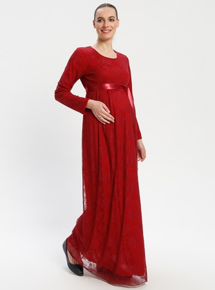 Maroon - Crew neck - Fully Lined - Maternity Dress