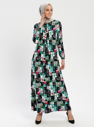 Multi - Floral - Crew neck - Unlined - Dress - BAGİZA