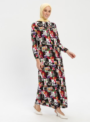 Multi - Smoke - Floral - Crew neck - Unlined - Dress - BAGİZA