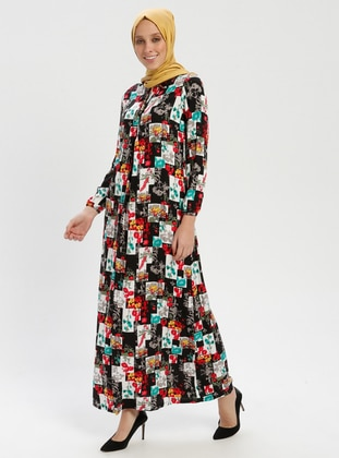 Green - Multi - Viscose - Dress