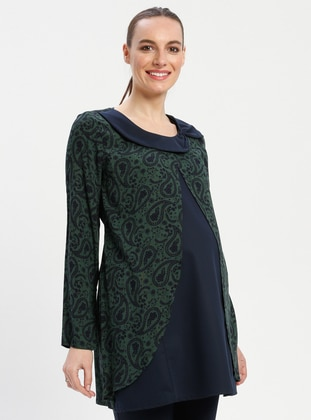 Green - Crew neck - Multi - Viscose - Maternity Tunic - Havva Ana