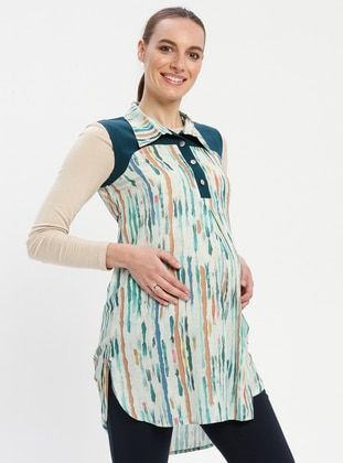 Green - Round Collar - Stripe - Maternity Tunic - Havva Ana