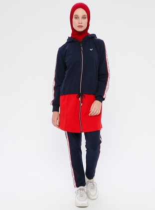 Red - Navy Blue - Tracksuit Set