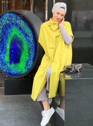 Yellow - Button Collar - Unlined - Poncho