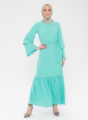 Green -  - Crew neck - Unlined - Dress