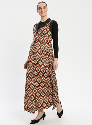 Brown - Multi - V neck Collar - Unlined - Viscose - Maternity Dress