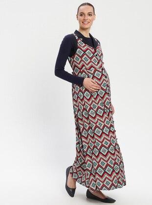 Blue - Maroon - Multi - V neck Collar - Unlined - Viscose - Maternity Dress