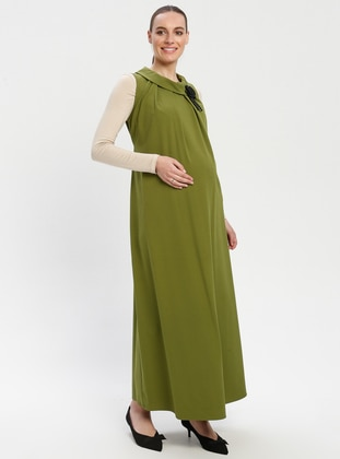 Green - Crew neck - Unlined - Maternity Dress - Havva Ana