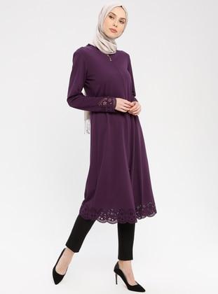 Purple - Unlined - Crew neck - Topcoat - ZENANE