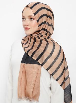 Camel - Striped - Pashmina - Viscose - Shawl
