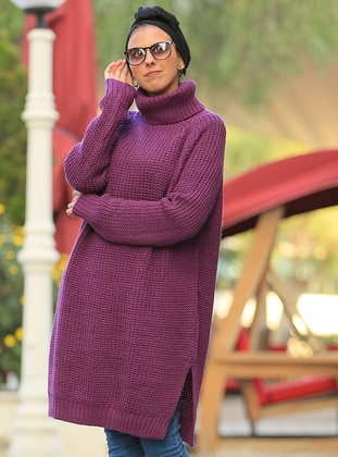 Purple - Polo neck - Acrylic - Tunic - Por La Cara