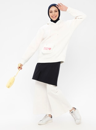 White - Wool Blend - Cotton - Crew neck - Tracksuit Top