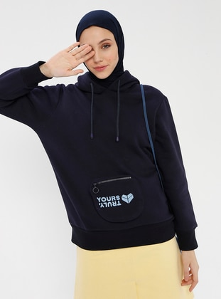 Navy Blue - Wool Blend - Cotton - Crew neck - Tracksuit Top