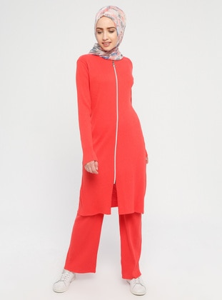 Coral - Unlined - Cotton - Suit