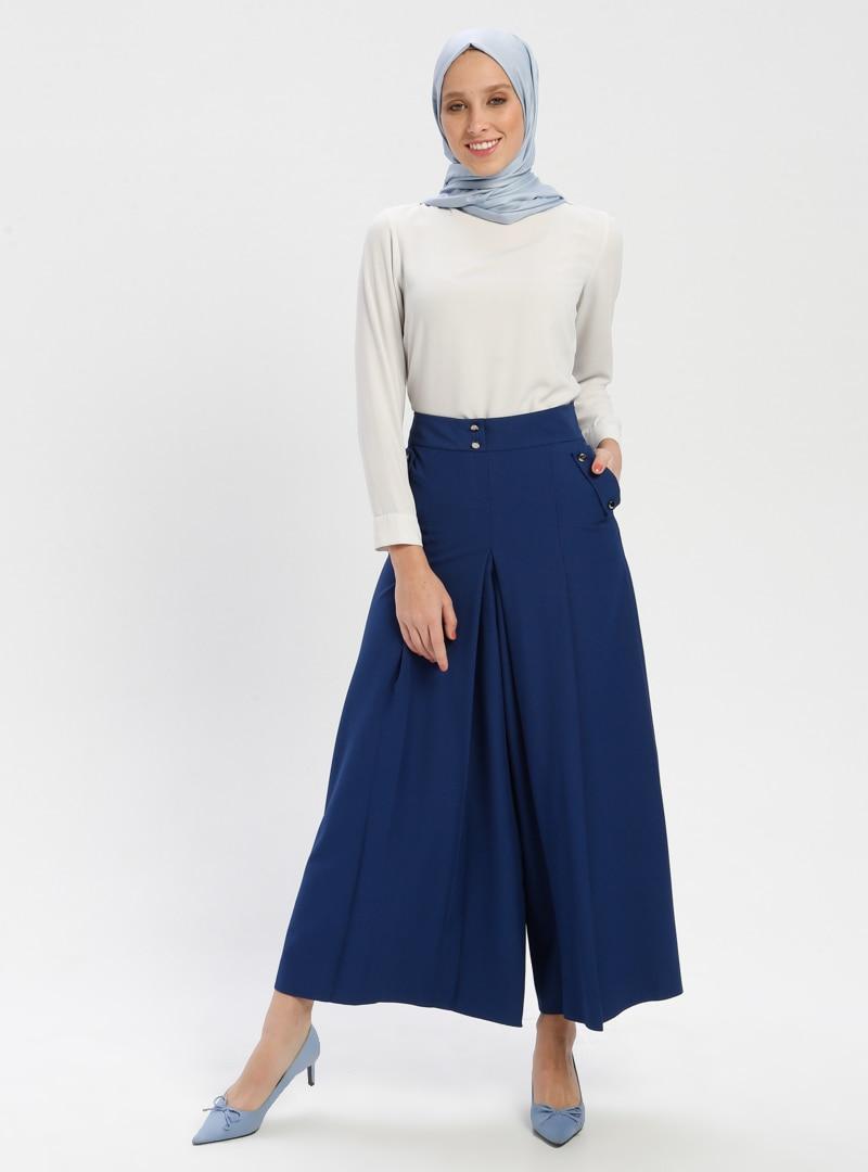 Tesettür Pantolon Etek BÜRÜN Mavi İndigo Kadın 48