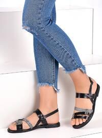 Black - Silver tone - Sandal - Sandal