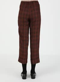 Tan - Plaid - Pants