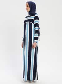 Multi - Stripe - Crew neck - Unlined - Dress - BAGİZA