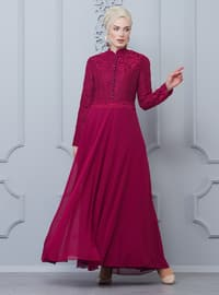 Cherry - Fully Lined - Crew neck - Muslim Evening Dress