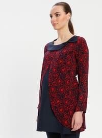 Red - Crew neck - Multi - Viscose - Maternity Tunic