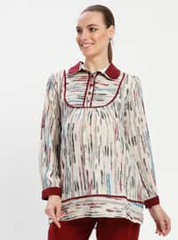 Maroon - Round Collar - Stripe - Maternity Tunic