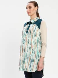 Green - Round Collar - Stripe - Maternity Tunic