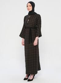 Khaki - Checkered - Crew neck - Unlined - Dress