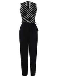 Black - Stripe - Unlined - V neck Collar - Jumpsuit