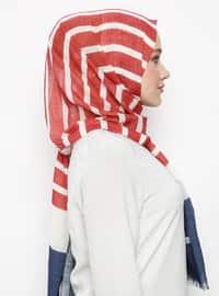 Red - Striped - Pashmina - Viscose - Shawl