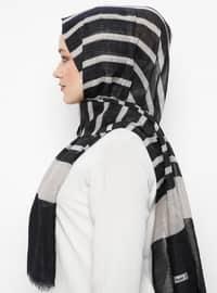 Black - Striped - Pashmina - Viscose - Shawl