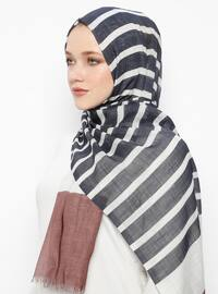Navy Blue - Striped - Pashmina - Viscose - Shawl