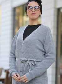 Gray - V neck Collar - Cardigan