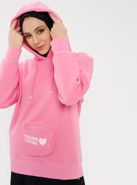 Pink - Wool Blend - Cotton - Crew neck - Tracksuit Top