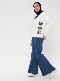 White - Geometric - Wool Blend - Cotton - Tracksuit Top