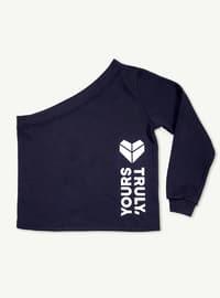 Navy Blue - Geometric - Wool Blend - Cotton - Tracksuit Top