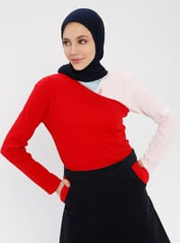 Red - Geometric - Multi - Crew neck - Cotton - Blouses