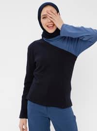 Navy Blue - Geometric - Multi - Crew neck - Cotton - Blouses