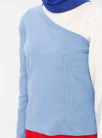 Blue - Geometric - Multi - Crew neck - Cotton - Blouses