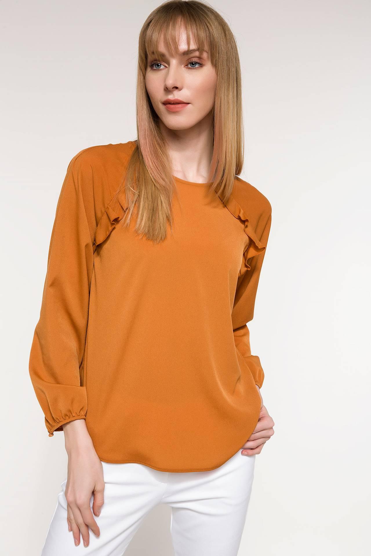Tesettür Bluz Gömlek DeFacto Kahverengi Kadın 42