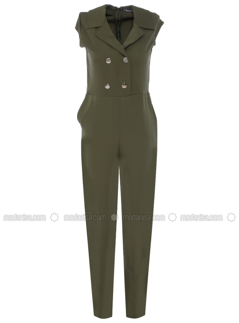 Khaki - Unlined - Point Collar - Jumpsuit